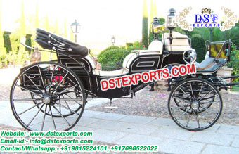 Black Open Victoria Horse Drawn Buggy