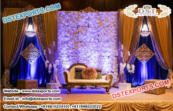 Latest Wedding Stage With Flower Wall Decor