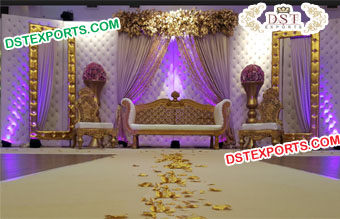 Grand Wedding Stage Leather Tufted Panel