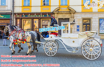 Royal White Horse Drawn Carriage