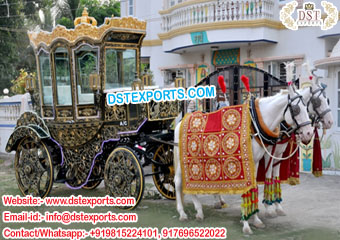 Royal Indian Wedding Covered Horse Carriage