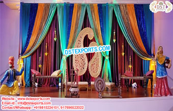Punjabi Theme Mehndi Stage With Statues