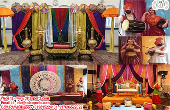 Traditional Punjabi Theme Mehndi Stage And Statues