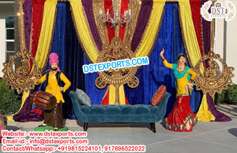 Punjabi Wedding Mehndi Stage Jhumka Panels
