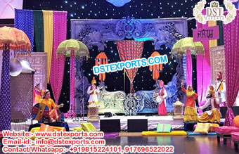 Exclusive Punjabi Mehndi Stage Decoration Props