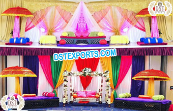 Muslim Wedding Mehndi Stage With Moroccan Bed